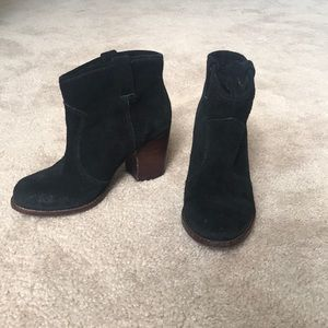 Size 7 Black Suede Heeled Booties from Nordstrom